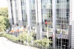 Конферентният център в Брюксел, приспособен за парламент. Снимка: Европейски парламент